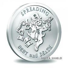 2014 Silver Shield Spreading Debt And Death 1 oz .999 Silver BU Round USA Coin