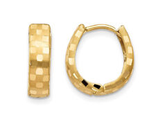 14K Yellow Gold Diamond Cut 4mm Patterned Huggie Hoop Earrings