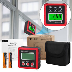 Digital Angle Gauge LCD Inclinometer Level Box Protractor Bevel RED Angle Finder