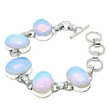 Silver Plated Bracelet Jewelry v-2 Gorgeous Natural Milky Opal Gemstone