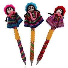 #1157 Worry Doll Write Pens Three Set Peru Guatemala Fair Trade Artisan Made