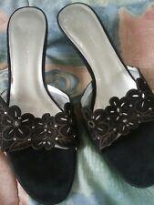 AK Anne Klein Black suede type Leather Flower Design cut out Heels/Slides - 8M