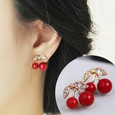 New Womens Luxury Rhinestone Red Cherry Party Earrings Stud Jewellery Gift Bag