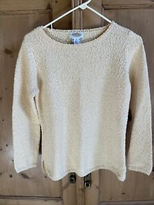 Talbots Cotton Nubby Knit Slub Sweater Pullover Size Small Pale Yellow Butter