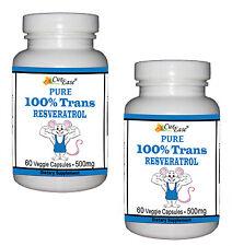 2 ~ Pure 100% TRANS RESVERATROL Pills 500mg 120 Vegetable Capsules GMO Free