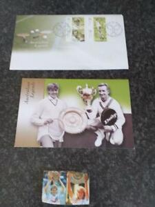 vintage stamps tennis players Margaret Court in folder,  Edberg and Graf