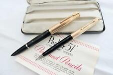 More details for parker 51 custom aerometric fountain pen & pencil1955 black & r.g cap case & ins
