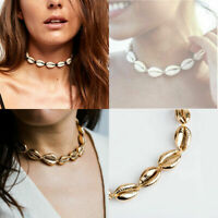 Cowrie Shell Choker Natural Shell Necklace Gold Adjustable Beach Jewellery