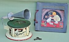 "Vintage ""KiddyPhone"" Tin Plate Toy Gramophone by Bing Germany & 3 Records"