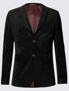 M&S LIMITED EDITION Slim Fit Velvet Jacket ~  SIZE 42 Medium ~ Black