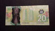 Bank of Canada 2012 $20 Canadian Money - 3 digit RADAR Serial #  FSP 5800085