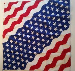 Bandana 100% Cotton USA Flag Print Double-Sided Scarf Head Wrap Neck Headband.
