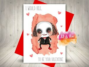 Funny Horror Movie Themed Valentines Card   Saw   Horror Film Inspired Card
