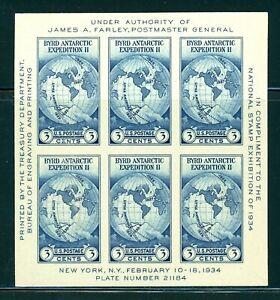 US 1934 Farley Byrd Expedition Souvenir Sheet, Stamp 735, Mint MNH NH NGAI  JPFF