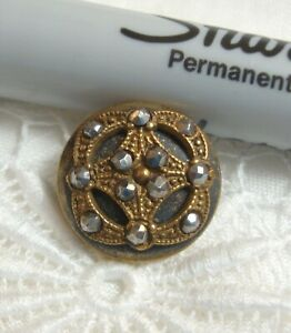 """Antique Victorian Metal Button 5/8"""" FANCY WITH CUT STEEL"""