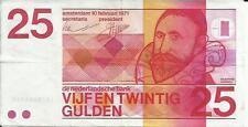 NETHERLANDS 25 GULDEN 1971 . VF CONDITION. 3RW 29 ABRIL