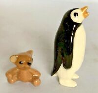 Hagen Renaker Teddy Bear Penguin Miniature Figurine Porcelain Tiny Lot of 2