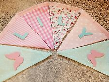 PERSONALISED BUTTERFLY BUNTING- MINT & PINK MIX-ANY NAME-£1 PER FLAG, FREE P&P