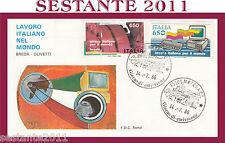ITALIA FDC ROMA LAVORO ITALIANO NEL MONDO OLIVETTI BREDA 1986 MATERA H412