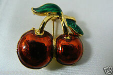 Red Enamel Gold Tone Metal Double Cherry Berry Pin Brooch