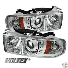 1994-2002 DODGE RAM 1500 2500 3500 HALO LED PROJECTOR HEADLIGHTS LIGHTBAR CHROME