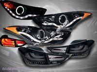 FOR 11-13 Elantra Projector Headlights Halo CCFL LED Strip + LED Tail Lights SMK