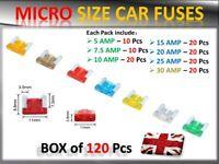120 ASSORTED MICRO MINI FUSES AUTO CAR VAN TRUCK SUV LOW PROFILE APS FUSE SMALL