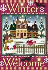 """Winter Welcome House Flag Jeremiah Junction Yard Banner Decor 28""""x40"""""""