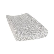 Trend Lab Art Deco Scallop Changing Pad Cover   Gray / White