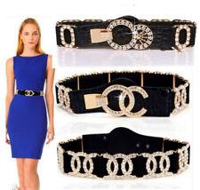 Women Ladies Fashion X Crystal Wide Black Cinch Waist Belt Elastic Stretch Gift