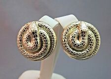 Vintage Snake Earrings Coil Clip On Textured Skin Gold Plated Couture W Germany