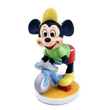 Vintage Walt Disney Mickey Mouse On A Bike Ceramic Figurine