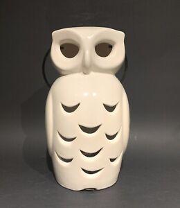 """Vintage Brush Pottery White Owl 9-1/2"""" Luminaire Candle/Votive Holder"""