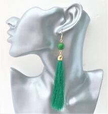 Gorgeous Green Silky Tassel and Bead Long Dangle Drop Earrings in Gold Tone