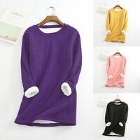 Women's Thick Velvet Long Sleeve T Shirt Warm Sweatshirts Tops