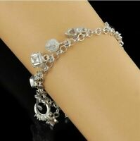 925 Silver Plated Fashion 13 Charms pendant Charm Bracelet Jewelry Wedding Gift