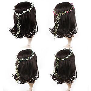 Bohemian Flower Crown Wedding Garland Forehead Hair Head Band Beach Wreath CA