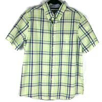 Chaps Easy Care Green Blue Plaid Stripes Button Up Down Shirt Mens Size Large