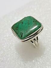 Chunky Real Natural Turquoise Ring marked 925 Solid Silver ring Size: N1/2~O