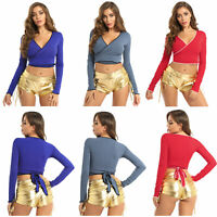 Womens Sexy Deep V Neck Tie Up Long Sleeve Shirts Bandage Crop Top Blouse Casual