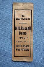 "U.S.W.V. ""In Memoriam, M.D. Russell Camo No. 2 Troy, N.Y., United Spanish War..."