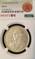 1950 MEXICO SILVER UN PESO JOSE MORELOS NGC MS 62 NICE LUSTER GREAT COIN