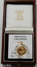 1990 Royal Mint £10 1/10 oz Gold Proof Britannia coin Box COA