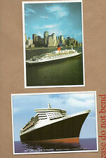Cunard QEII 2001 -+ Queen Mary 2204 Marine art postcards