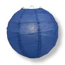 "20"" Navy Blue Round Paper Lantern, Crisscross Ribbing, Hanging Decoration"