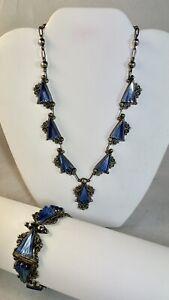 "Vtg Sterling Blue Kyanite 16"" Necklace 7"" Bracelet ACE GUADALAJARA Mexico .925"