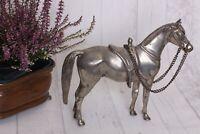 Vintage Statue Pferd Skulptur Hengst Horse Metallguß Silber Farbe