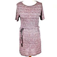 RED HERRING Viscose Short Sleeve Dress Knit 12 Purple Tie Waist Light Casual