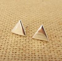 Plain 925 Sterling Silver Triangle Stud Earrings Jewellery