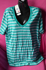 ladies new with tag t-shirt by bonds.size M colour green stripes